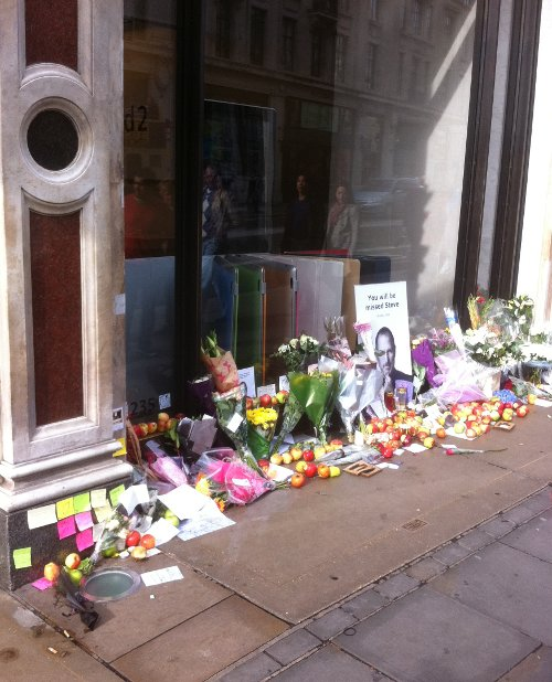 Memorial to Steve Jobs at Apple Shop in Regent Street, London, UK